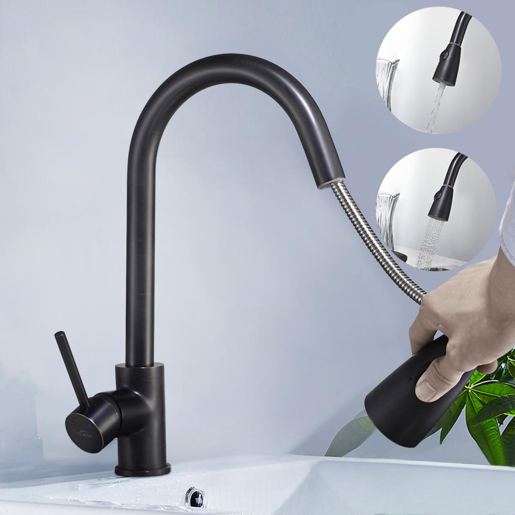 Ausziehbar Küchenarmatur Schwarz Wasserhahn Spültisch Mischbatterie ...