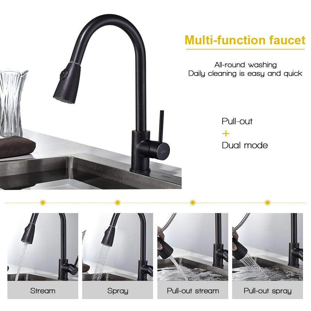 Schwarz Ausziehbar Küchenarmatur mit Brause Wasserhahn Spültisch ...