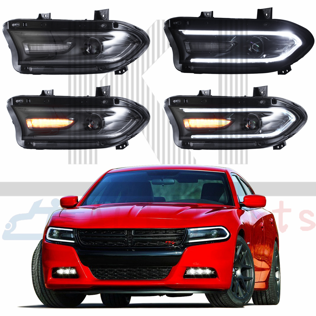 Pair LH+RH LED Headlights Head Lamps For 2015 2016 Dodge