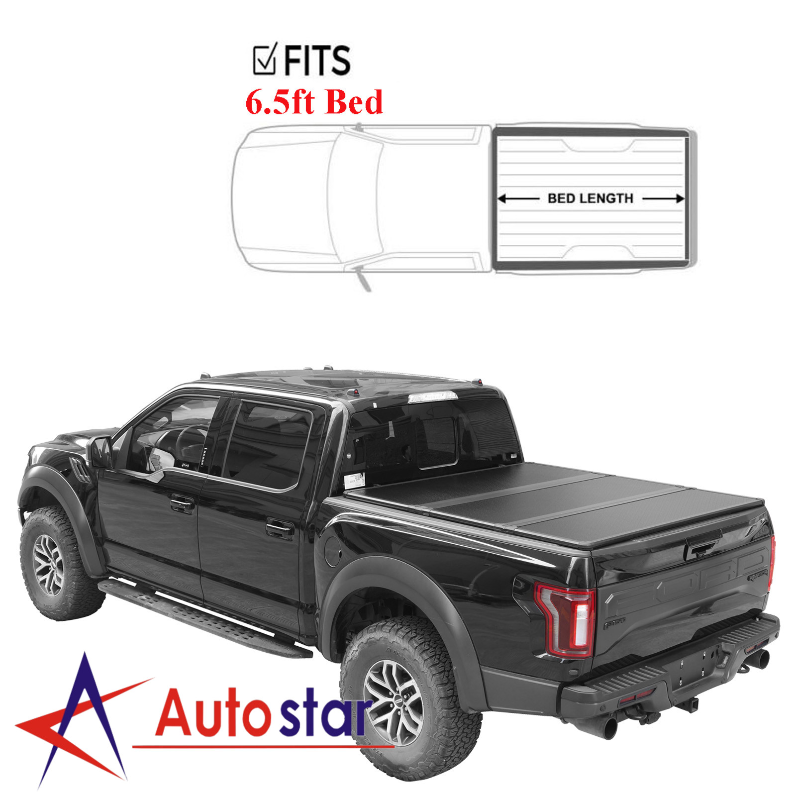 F250 Super Cab >> Details About Hard Solid Tri Fold Tonneau Cover For 1999 2018 Ford F250 Super Duty 6 5ft Bed