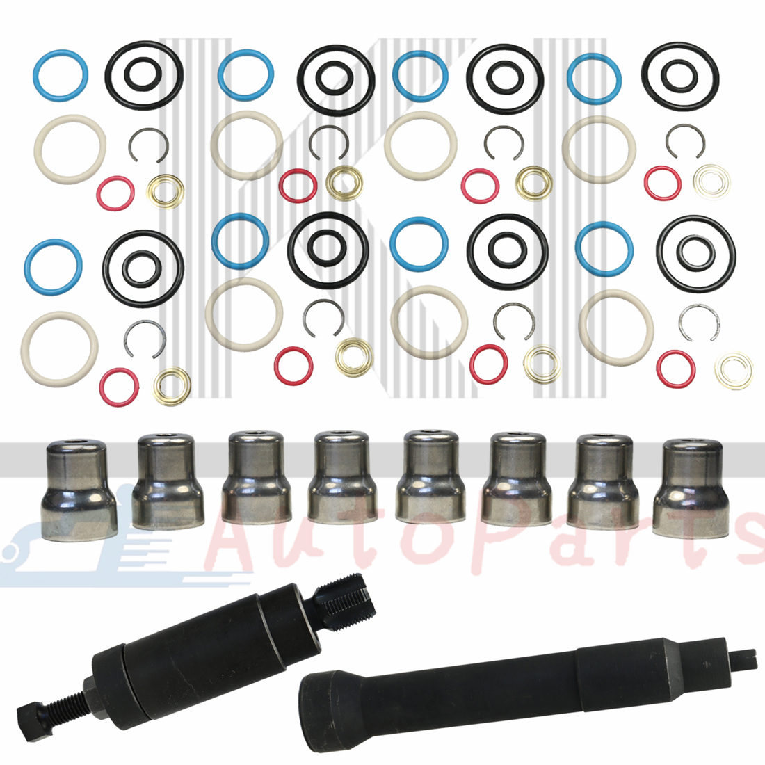 2003-2010 NEW 6.0L INJECTOR SLEEVE CUP SET OF 8 FOR GENUINE FORD MOTOCRAFT