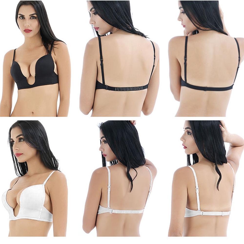 30-38 AA A B C Womens Bras Deep U Plunge Push Up Bra Clear Back Straps Underwear
