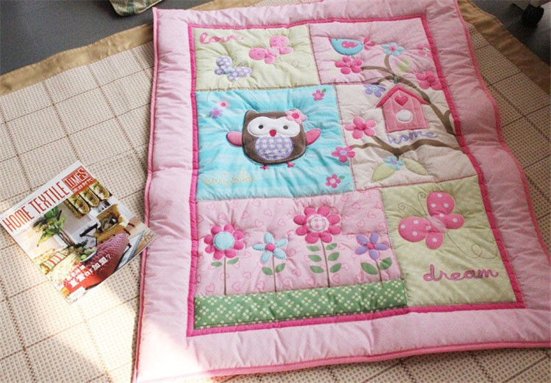 Pink Owl Butterfly Flower Baby Girl Nursery Bedding Set Crib Quilt Winter Bumper