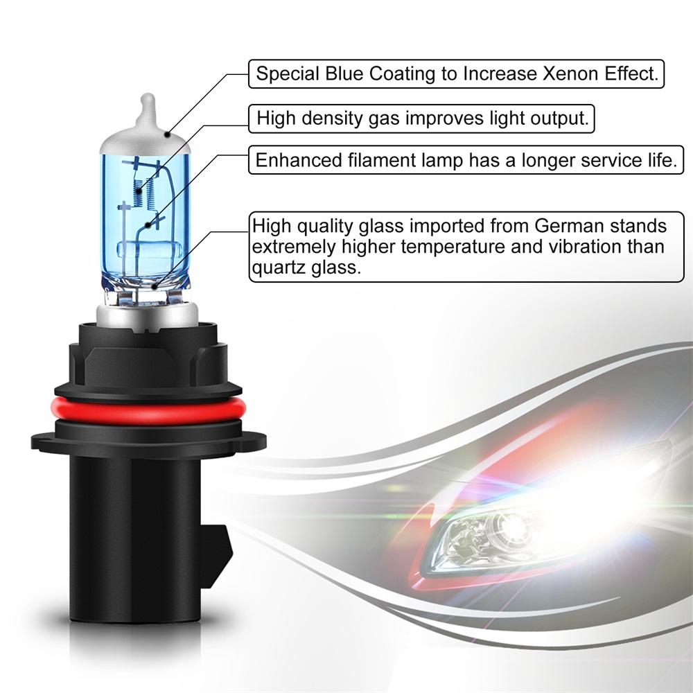 AGPTEK Halogen Headlight Bulb Kit 9007 HB5 5000K White 2-Pack for Car Motorcycle