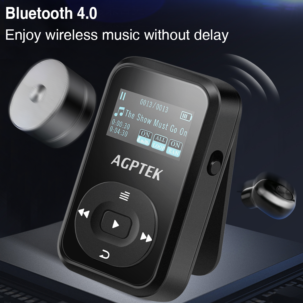 clip mp3 player with bluetooth 4 0 upgraded a26t agptek. Black Bedroom Furniture Sets. Home Design Ideas
