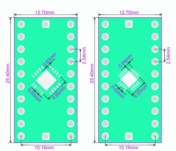2//5//10PCS QFN28 0.4 mm 0.5 Mm a 2.54 mm Convertidor Adaptador PCB Board DIP IC