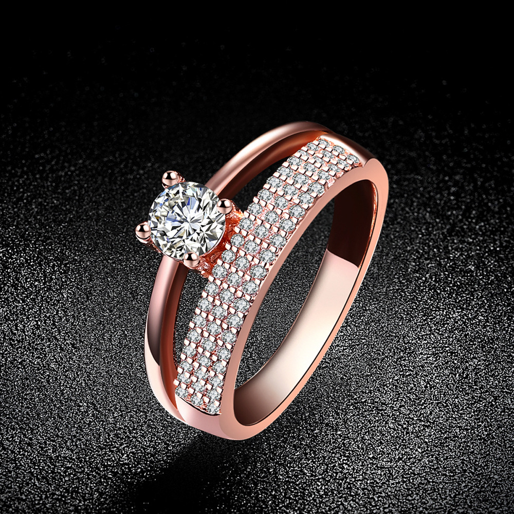 Rose Gold Plated 4mm Cz Classic Crystal Solitaire Engagement Wedding Ring Uk M S Ebay