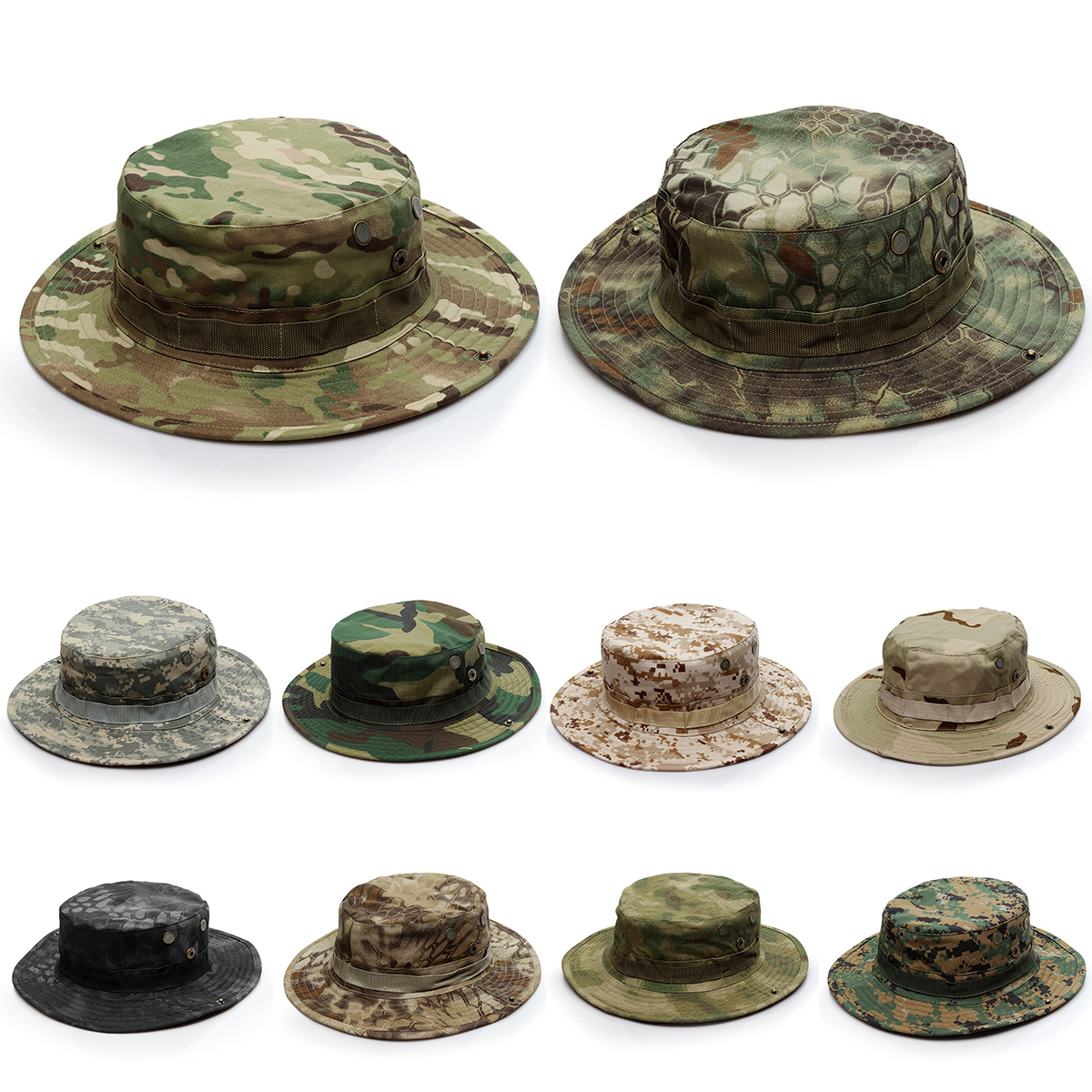 6a465f00ef0 Details about Outdoor Tactical Boonie Hat Military Camo Wide Brim Sun Fishing  Camping Cap New