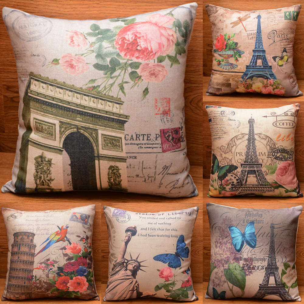 Vintage Butterfly Flower Cotton Pillow Case Sofa Throw Cushion Cover Home Decor