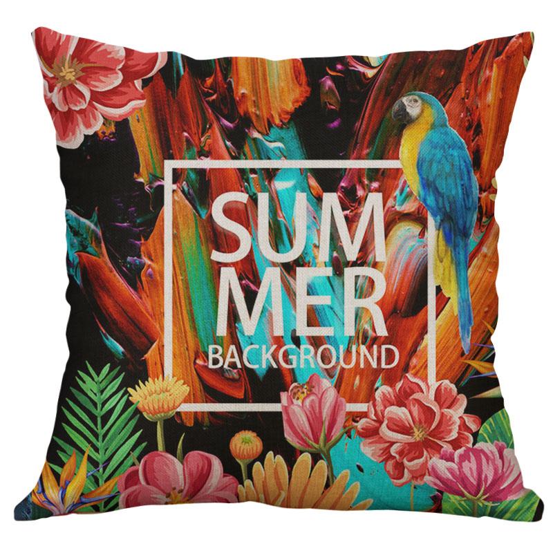 Printing illusion Deer Bird peacock Linen Pillow Case Cushion Cover Home Decor