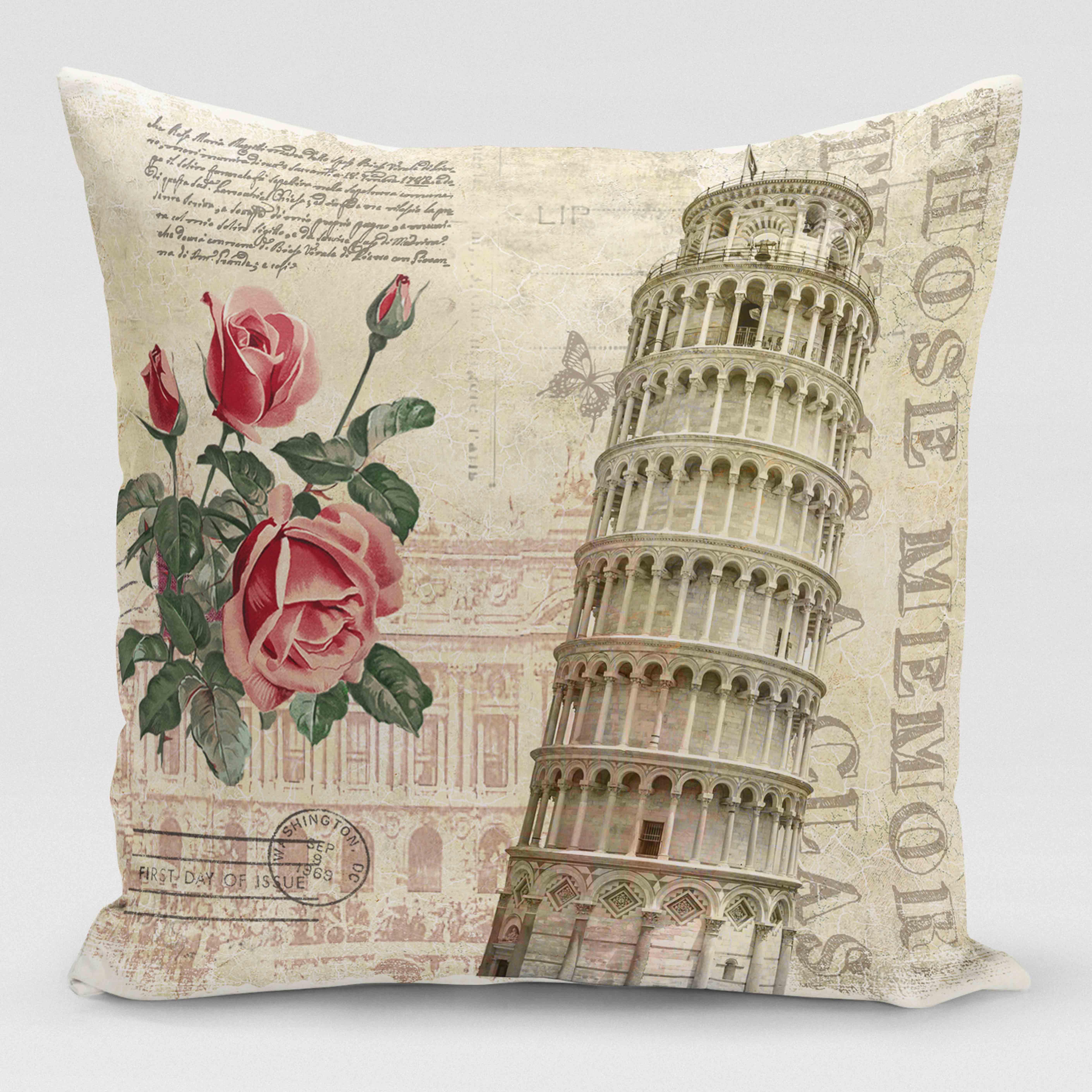 18/'/' Retro Style Eiffel Tower Cushion Cover Chair Seat Cushion Case Pillowcase