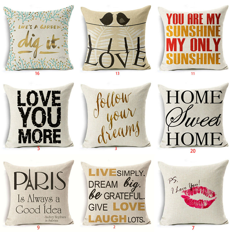 "18/"" Valentine/'s day Dog Cotton Linen Pillow Case Cushion Cover Sofa Home Decor"