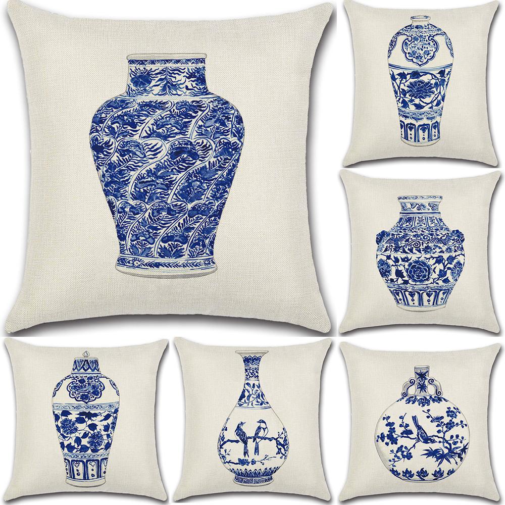 Blue and White Porcelain Cotton Linen Pillow Case Cushion Cover Home Decor