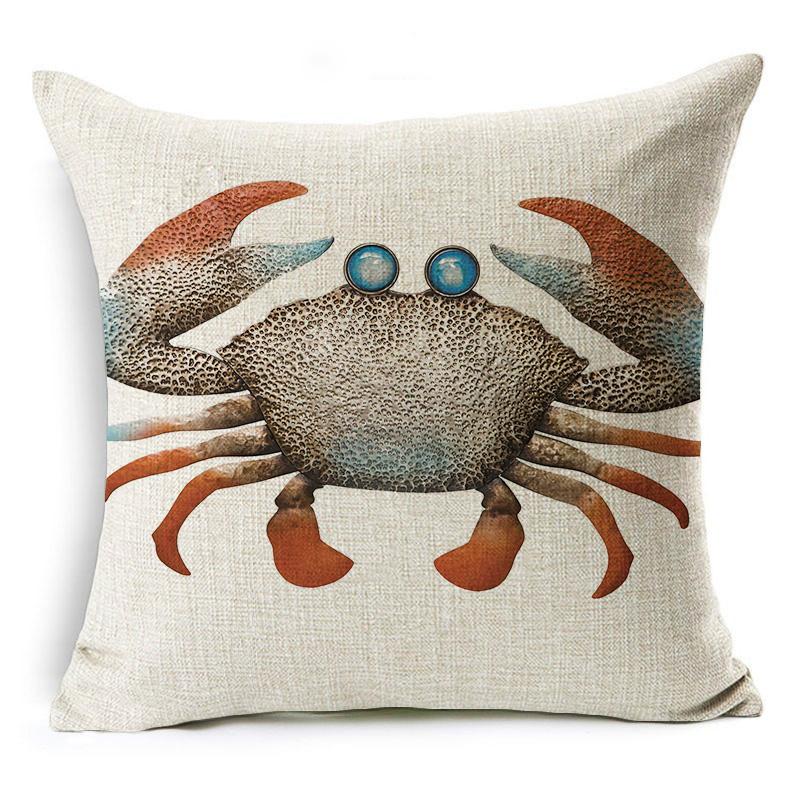 """18/"""" Rétro Mer Animal Coton Lin Taie d/'oreiller Canapé Cushion Cover Throw Home Decor"""