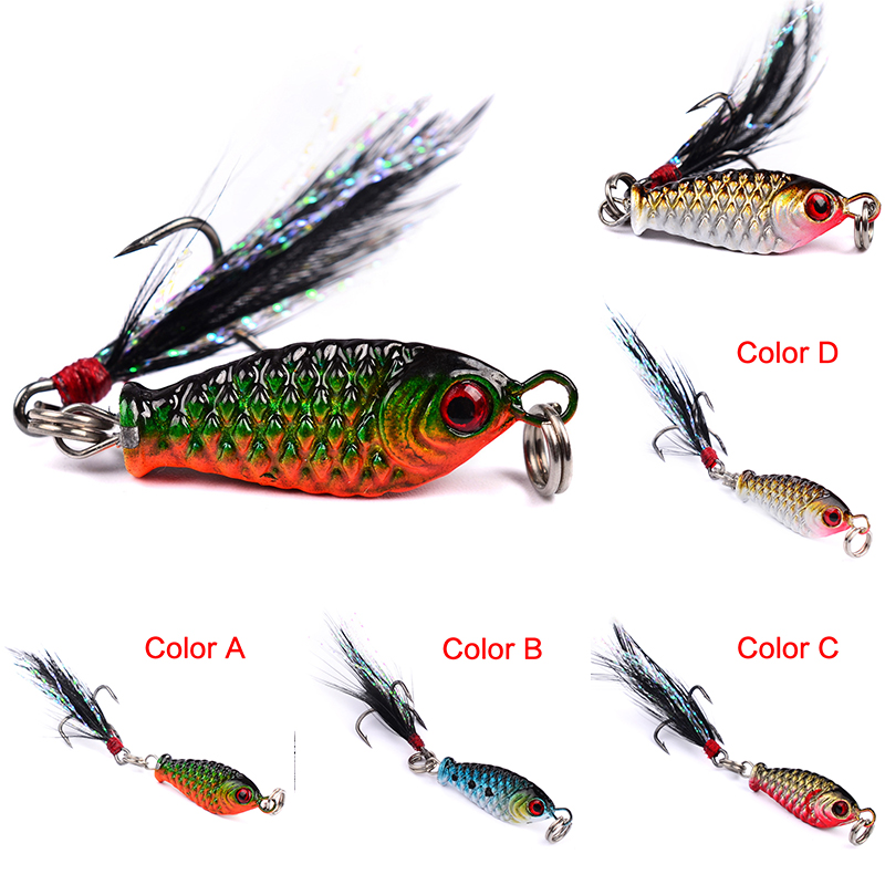 Kinds Hard Metal Fishing Lures Small Minnow Lure Bass Crank Bait Tackle Hooks US