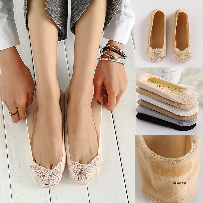 Invisible No Show Nonslip Loafer Lace Boat Low Cut Cotton Socks For Women D