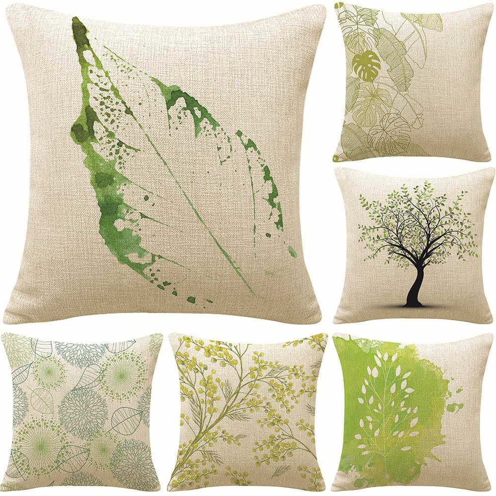 Fashion Cotton Linen Leaves Pattern Pillow Case Sofa Cushion Cover Home Decor