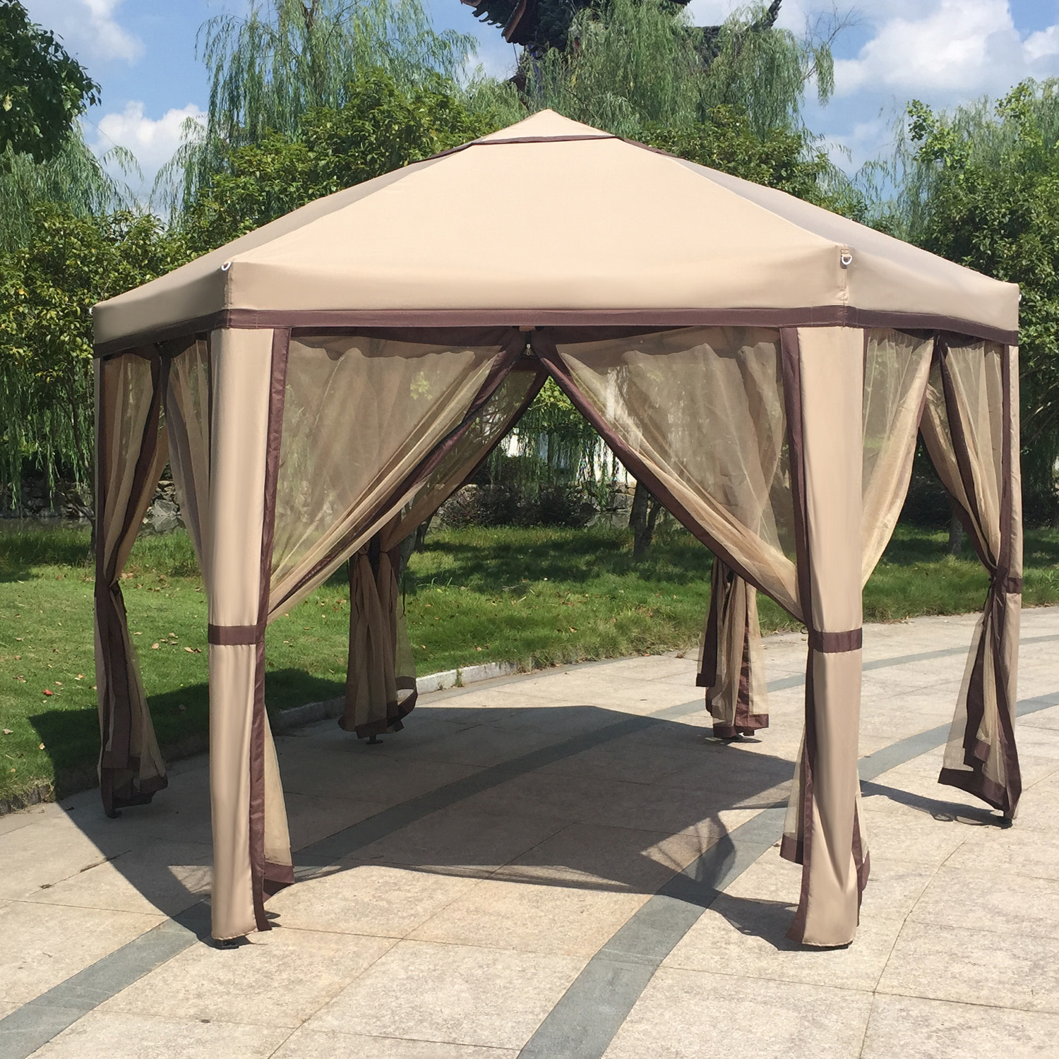 12 x 8 Elegant Garden Gazebo with Mosquito Netting Outdoor Patio