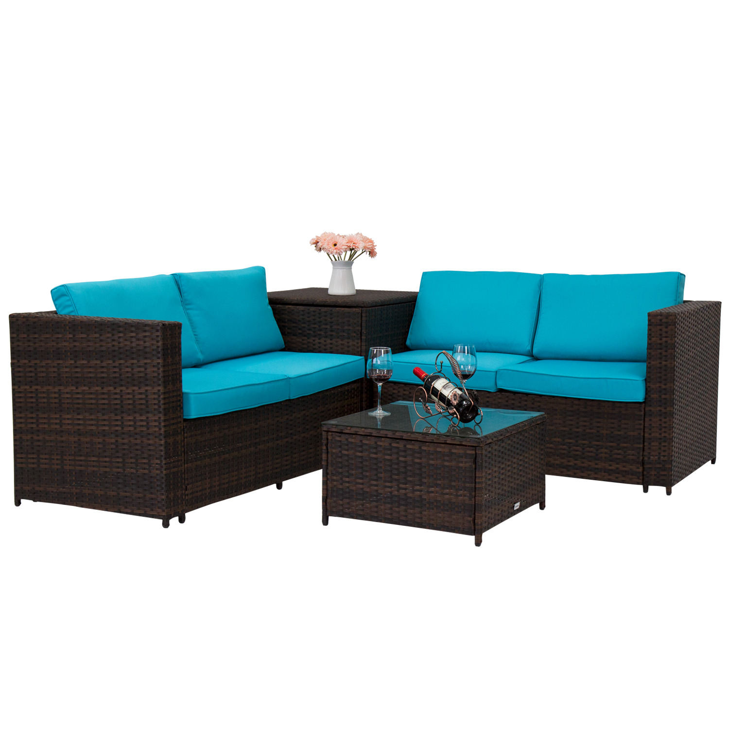 Details about 4PC All-Weather Rattan Patio Sofa Furniture Set Storage Table  Outdoor Lawn Deck