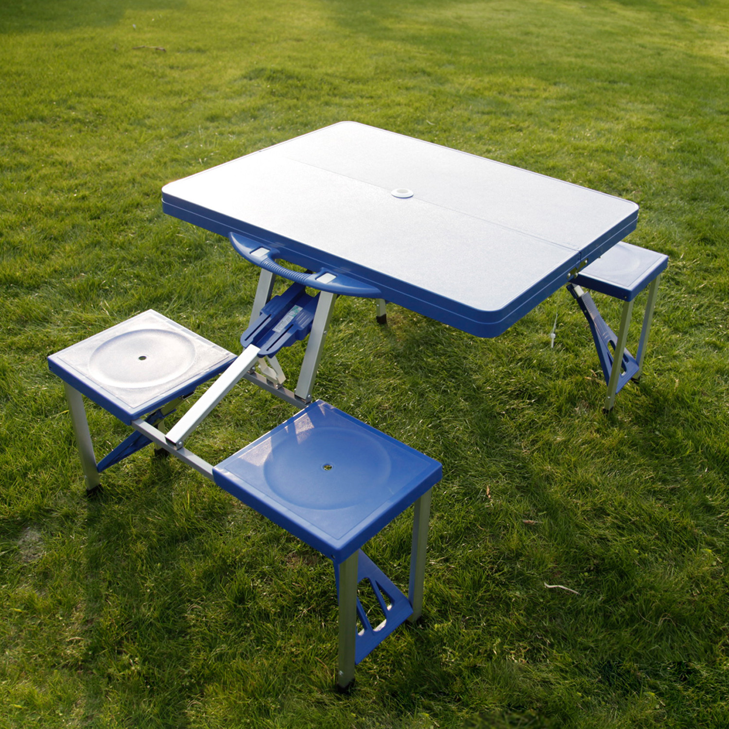 Kinbor kids portable folding plastic picnic table 4 seats blue portable folding plastic picnic table indoor outdoor kids camping table 4 seats watchthetrailerfo