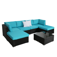 Details about 7 pcs Rattan Wicker Sofa Set Corner Modular Couch Ottoman  Outdoor Patio Garden