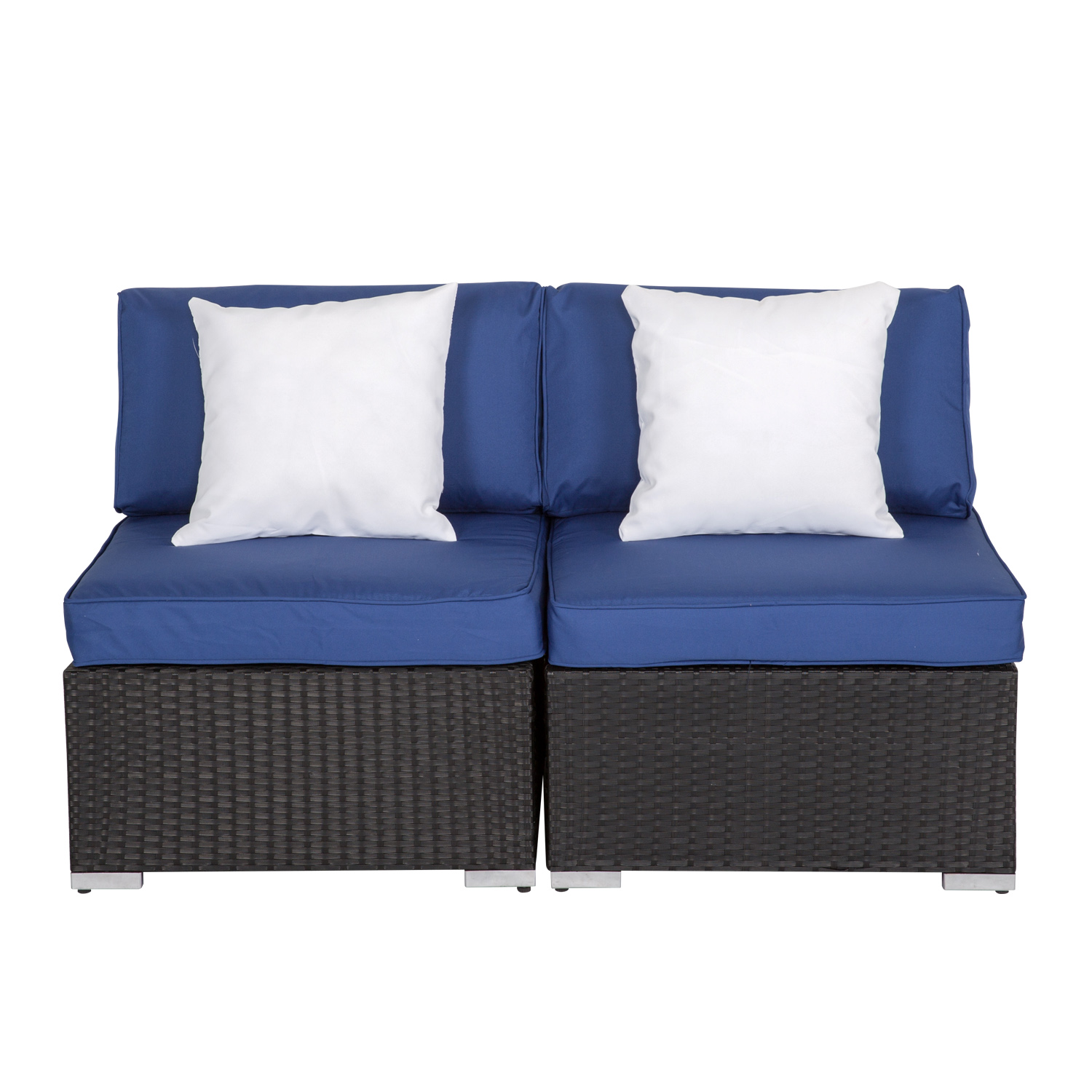 Surprising Details About Wicker Patio Sofa Loveseat 2Pc Armless Chair Outdoor Furniture Set Blue Cushion Inzonedesignstudio Interior Chair Design Inzonedesignstudiocom