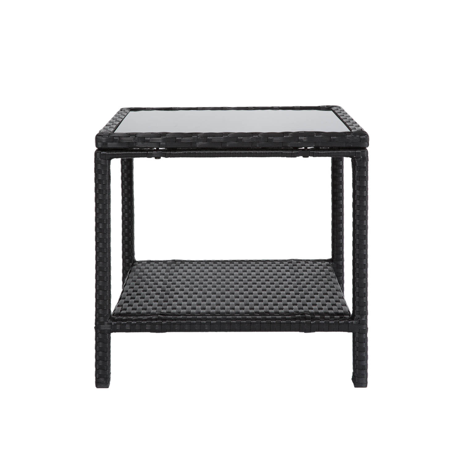 Square Wicker Side End Table Glass Top Tea Coffee Table