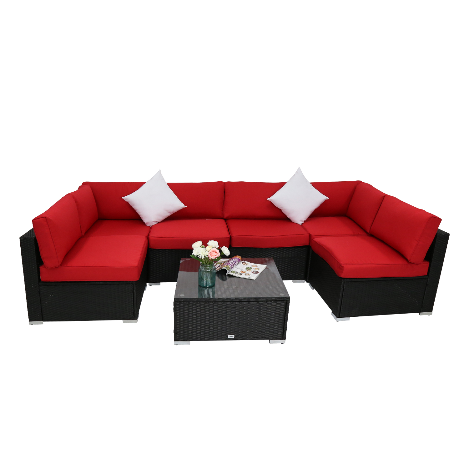 Groovy Details About Kinbor 7Pc Patio Wicker Sofa Set Garden Rattan Furniture Set Outdoor Red Cushion Inzonedesignstudio Interior Chair Design Inzonedesignstudiocom