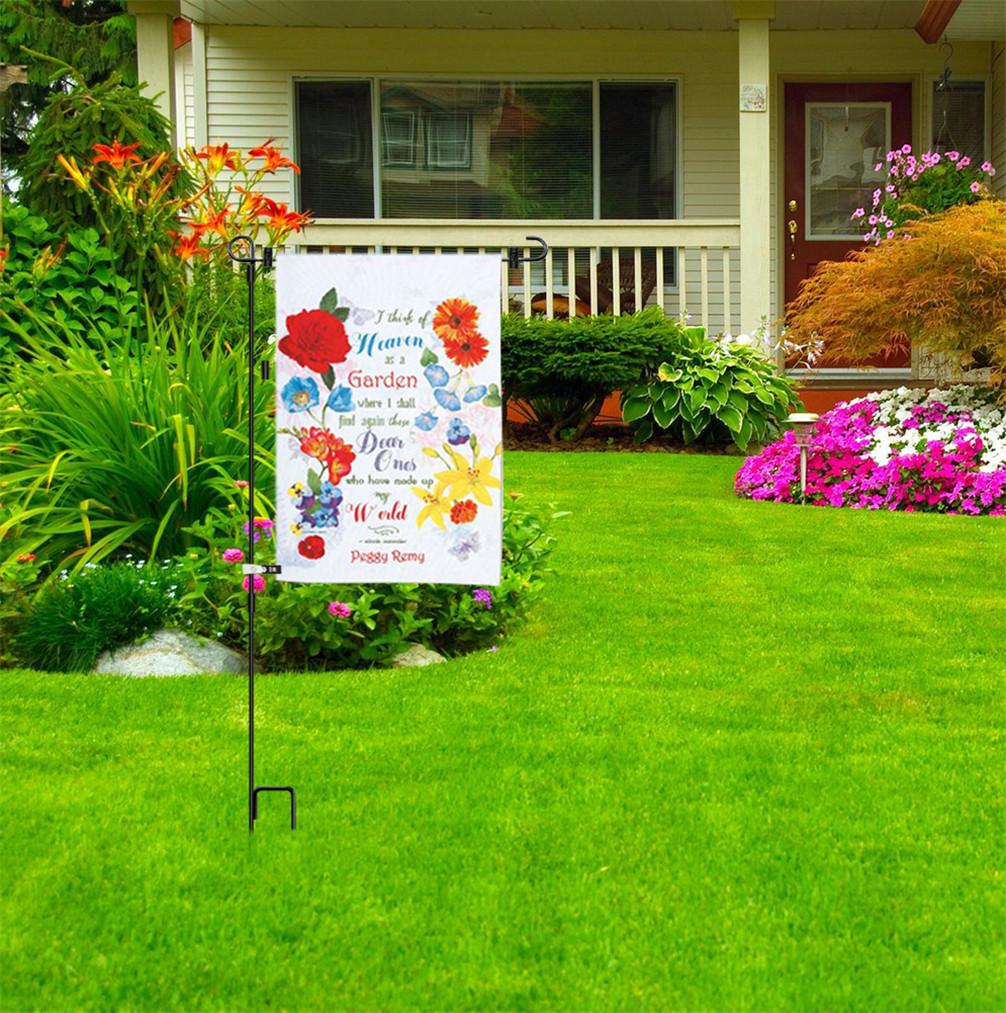 Wrought Iron Yard Garden Flag Stand Pole 36 Black Post Outdoor Decor Holder Easy | eBay