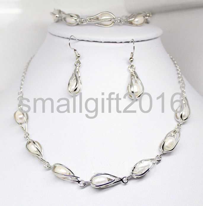 "Natural Biwa Pearl Necklace Bracelet Set White AAA Jewelry 18/"" 7.5/"" Long"