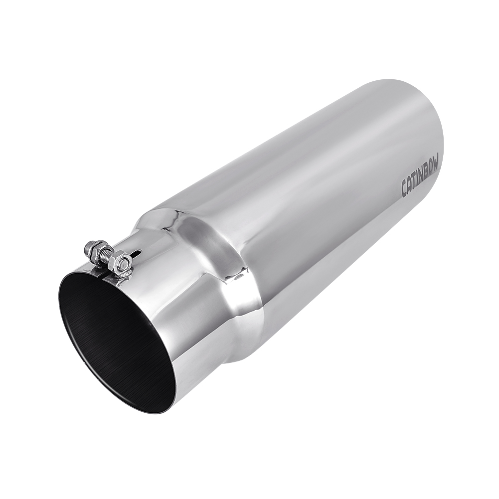 """5/"""" inlet 8/"""" outlet 18/"""" long Stainless Steel Rolled Angle Exhaust Tip"""