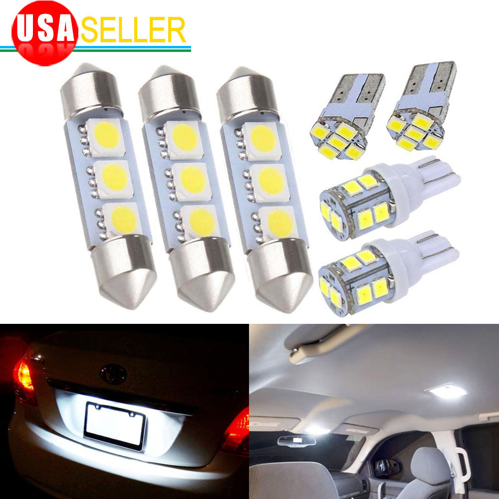 High Quality Details About 8x White LED Dome Map License Plate Light Bulbs Car Interior  LED Package Kit CP