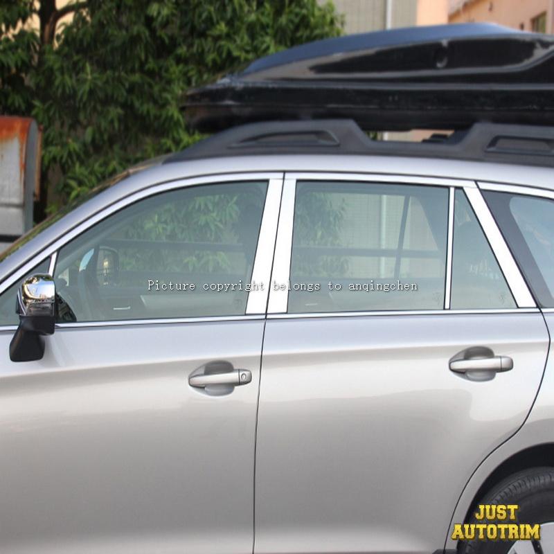 Chrome Door Pillar Post Window Decal Cover Trim For 2015-2017 Subaru Outback & Chrome Door Pillar Post Window Decal Cover Trim For 2015-2017 Subaru ...