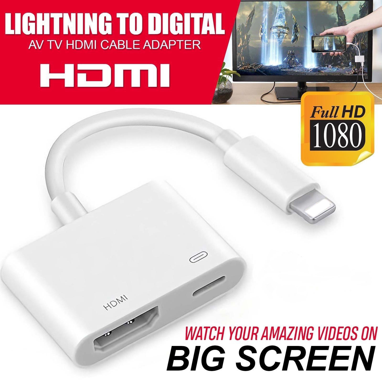 detailing 74c18 097c8 Details about 1080P To HDMI Digital AV TV Cable Adapter For iPad iPhone 8 7