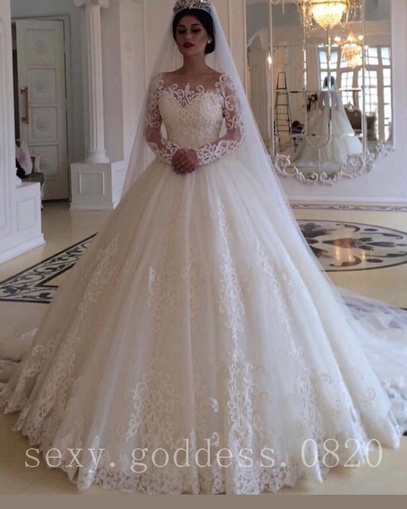 China Long Sleeves Wedding Dress Custom Made Lace Princess: Vintage Princess Lace Applique Wedding Dresses Long