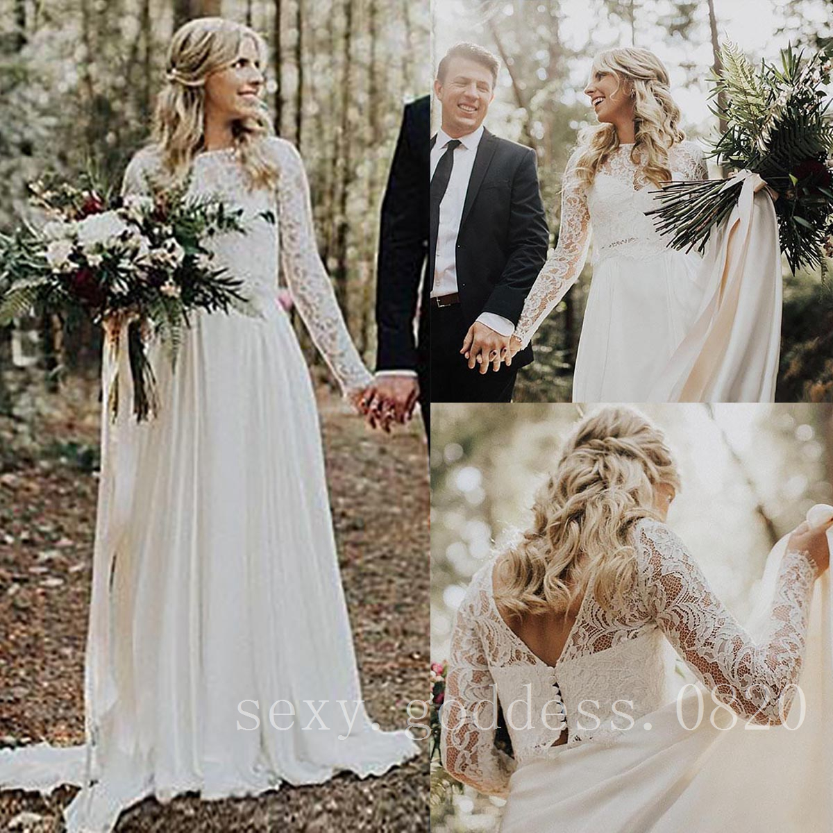 270d813f25c2 Details about Two Piece Bohemian Lace Chiffon Wedding Dresses Long Sleeves  Boho Bridal Gowns