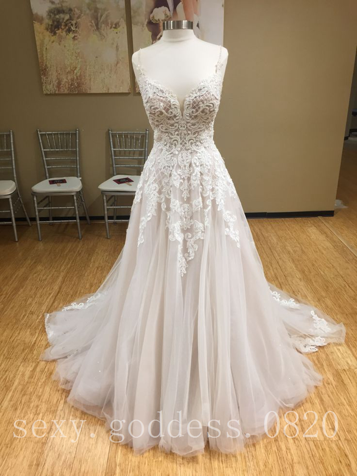 Spaghetti Straps Plunging V Neck Beach Wedding Dress Lace Appliques