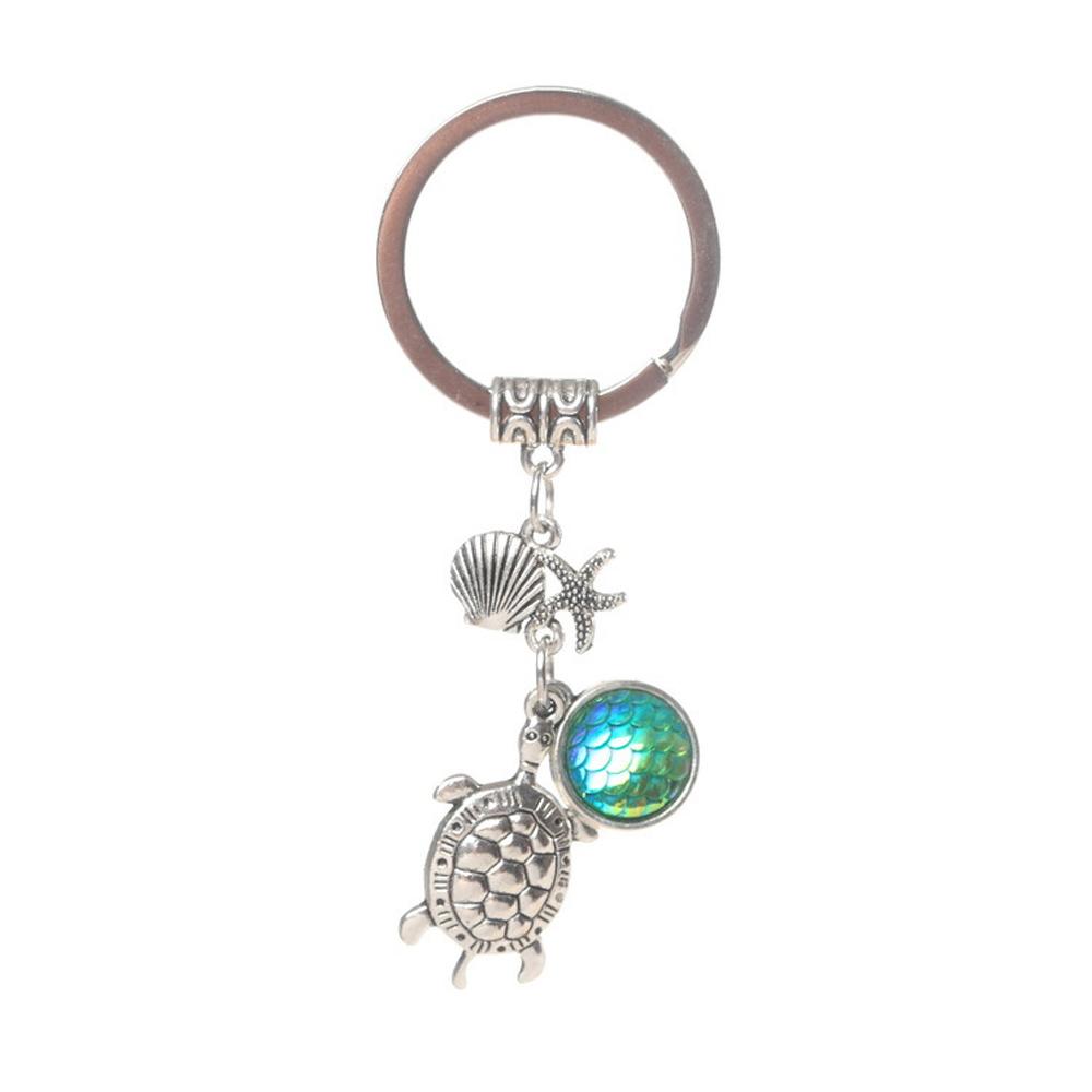 eddd95b5ee Colorful Fish Scale Tortoise Starfish Keyring Keychain Purse ...