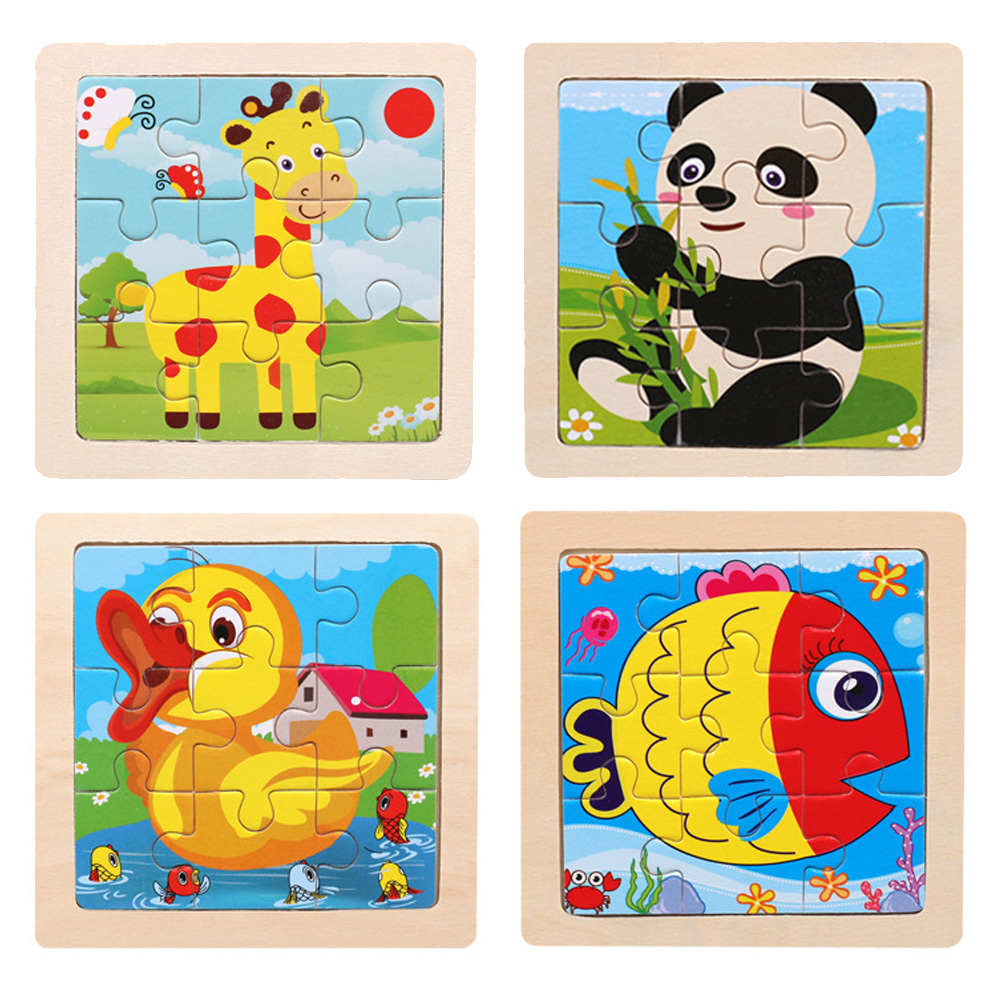 1PC Baby Toys3D Wooden Puzzle Cartoon Learning Educational Kids Fire Lovely deer