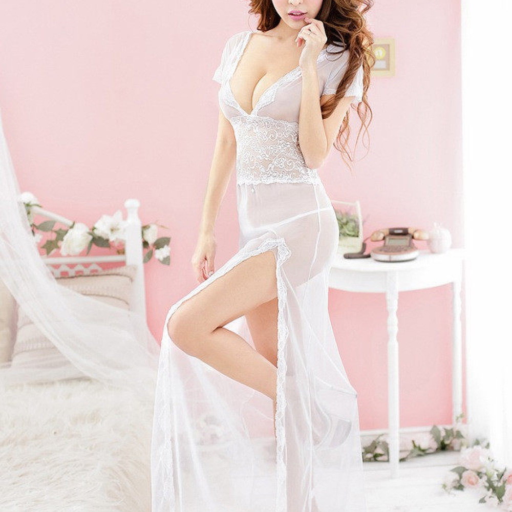 Women Super Sex Sheer Lingerie Long Robe Lace Short Sleeve
