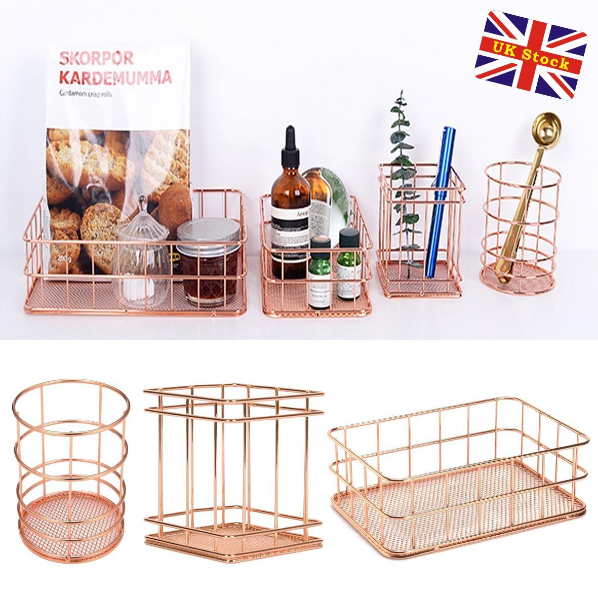 Modern Copper Rose Gold Wire Mesh Storage Basket Kitchen Bedroom Bathroom  sc 1 st  eBay & Mesh Storage Basket Modern Copper Rose Gold Wire Bedroom Bathroom ...