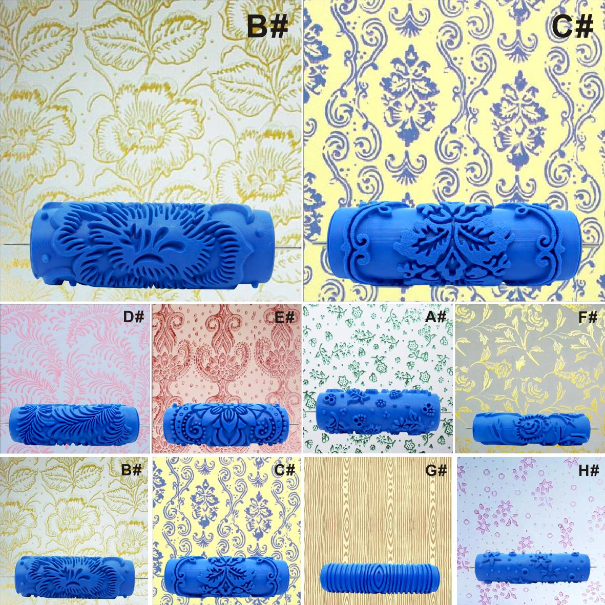 Embossed paint roller sleeve wall texture stencil brush for Embossed paint roller