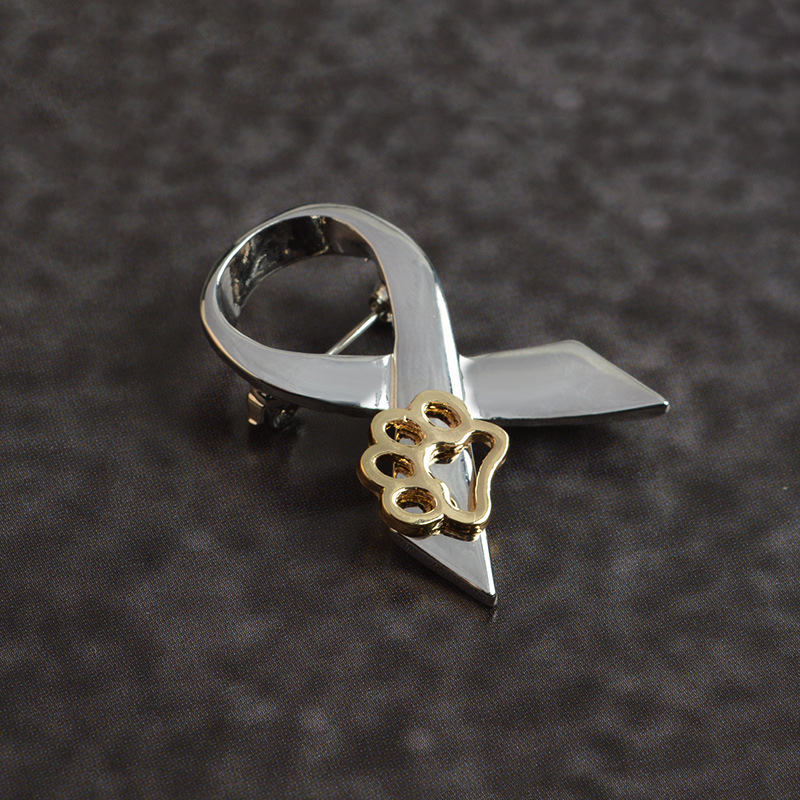Silver-Gold-Animal-Abuse-Awareness-Brooch-Pin-With-Paw-Charm-Jewelry-Pins-Charm