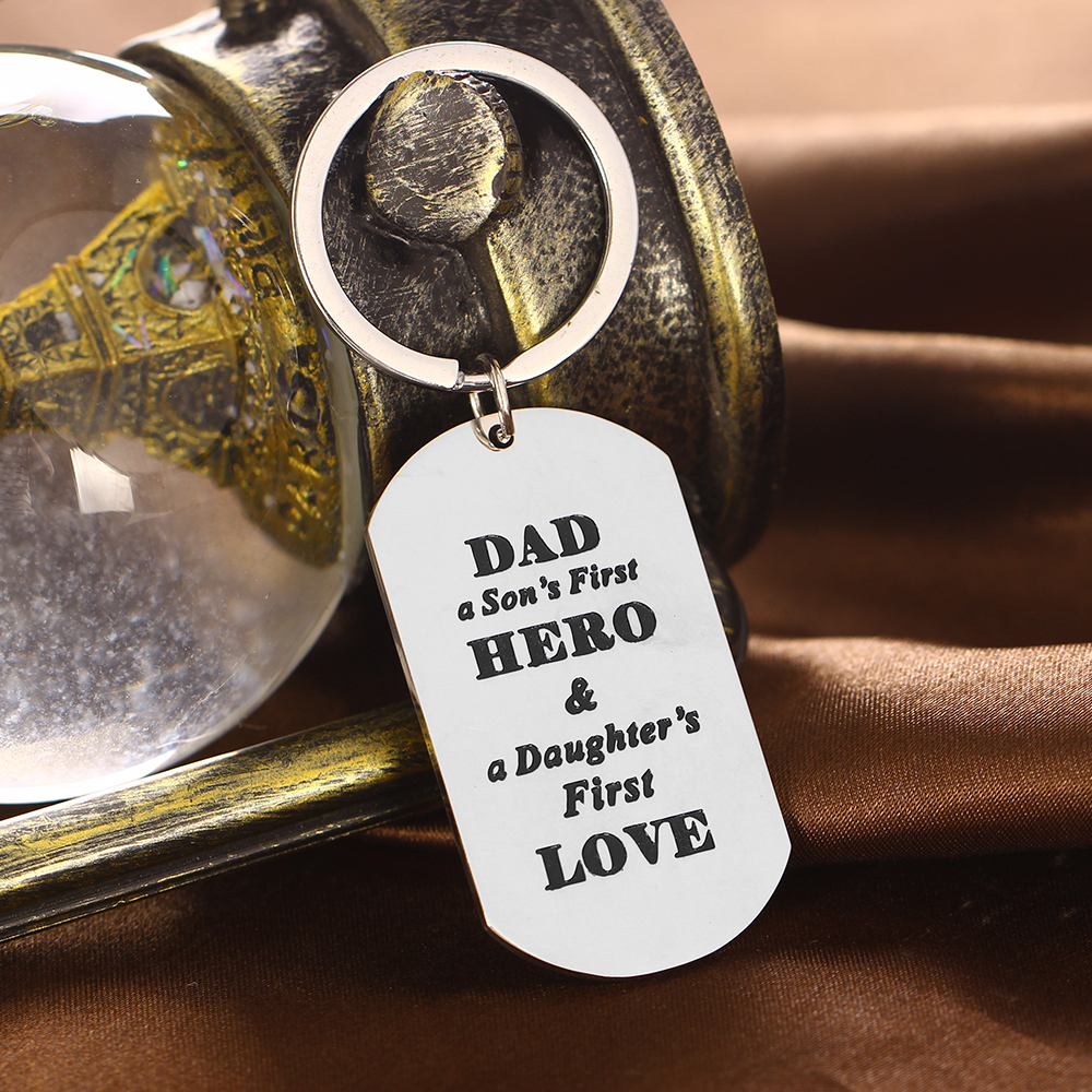 Stainless-Steel-Dog-Tag-Pendant-Family-Dad-Love-Keyring-Charms-Fathers-Day-Gifts