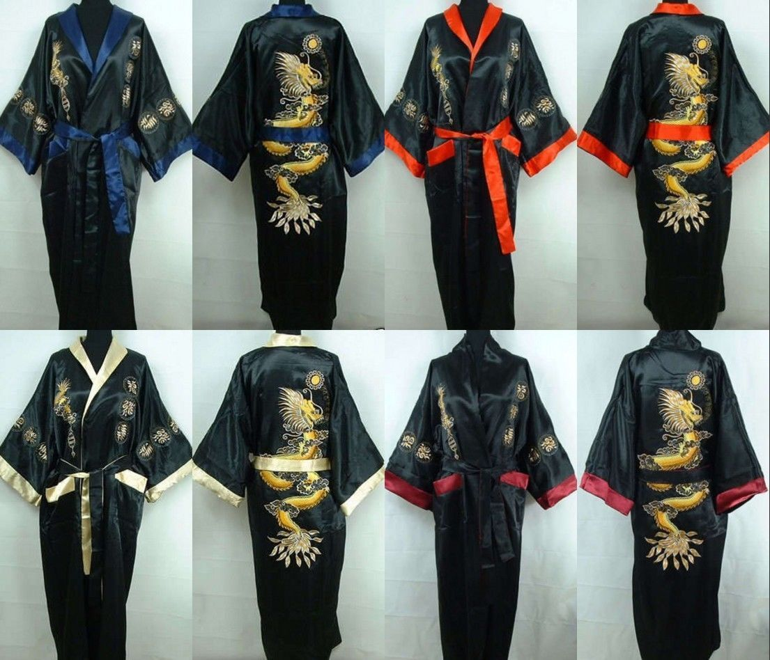 Details about Men's Double-Face Chinese Blending Silk Men's Kimono Robe  Gown Bathrobe Dress #1