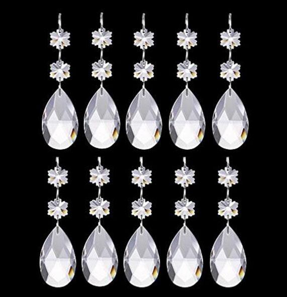 12Pcs Teardrop Chandelier Crystal Pendants Snowflake Crystal