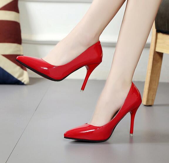Women Stilettos Formal Queen Crossdresser Slim High Heel Platform Leather Shoe