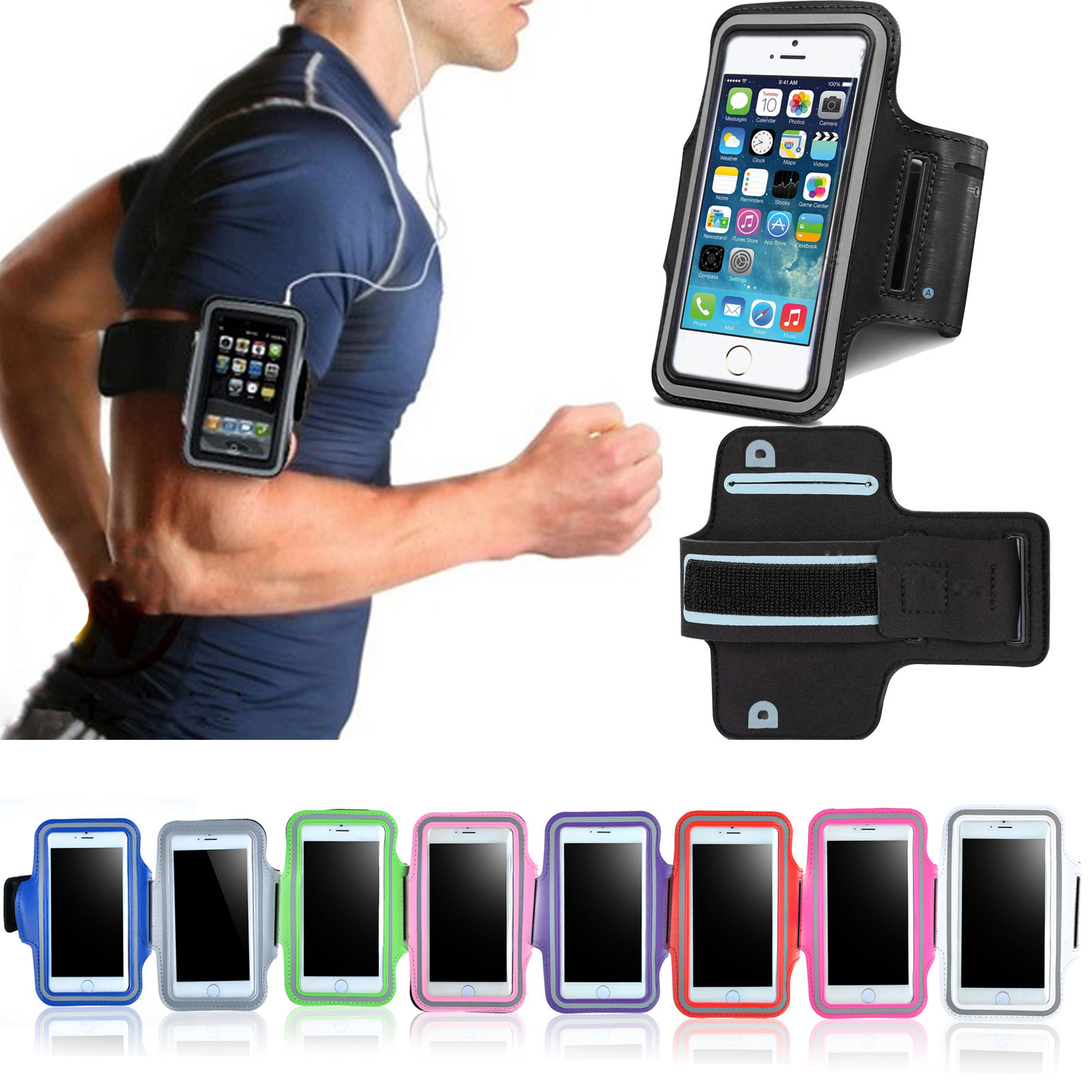 new arrival 6cb73 798a1 Details about Phones Running Jogging Sports Gym Arm Band Mobile Holder Case  Cover Bags
