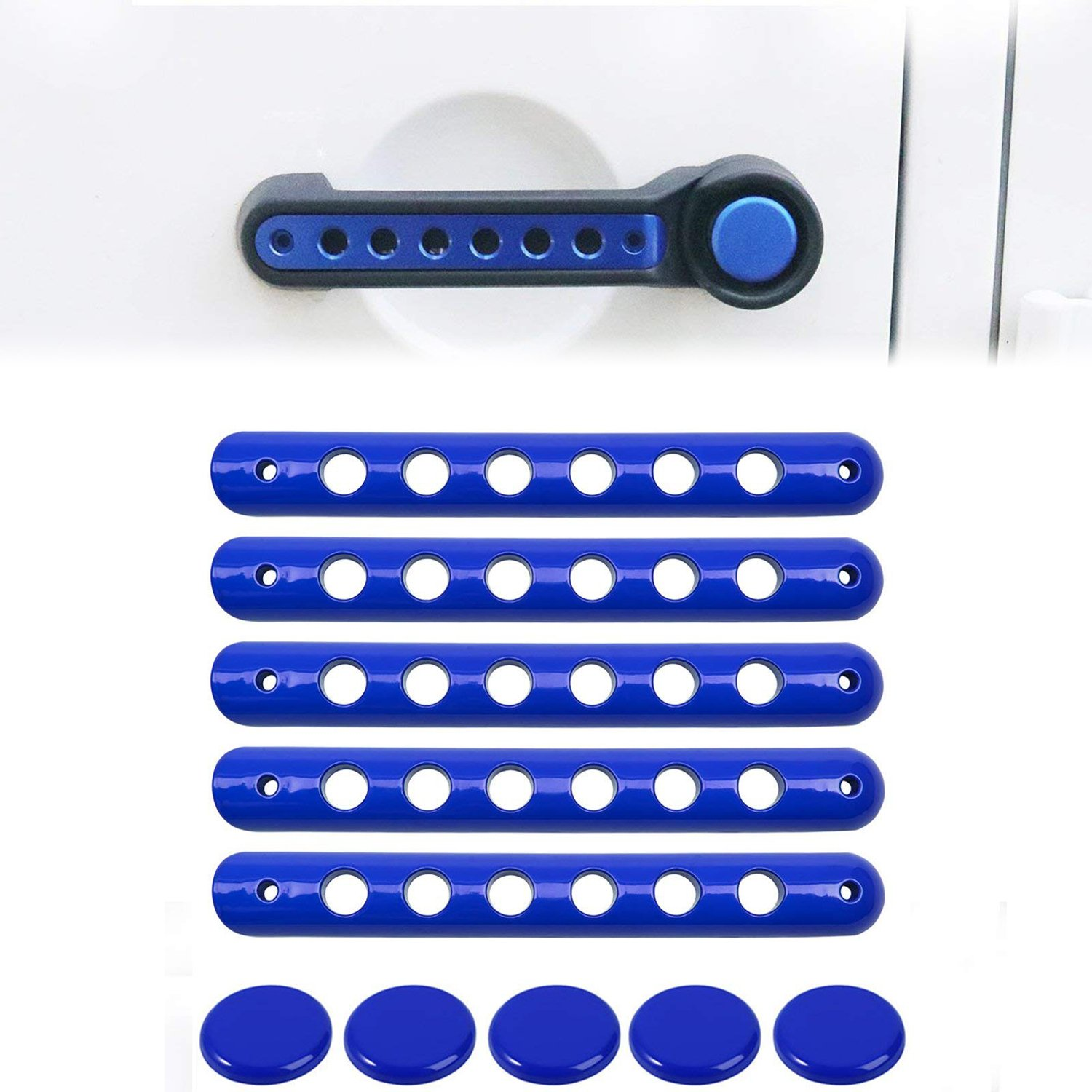 Push Button Knobs Trim for Jeep Wrangler JK 5pcs Grab Handle Inserts Cover