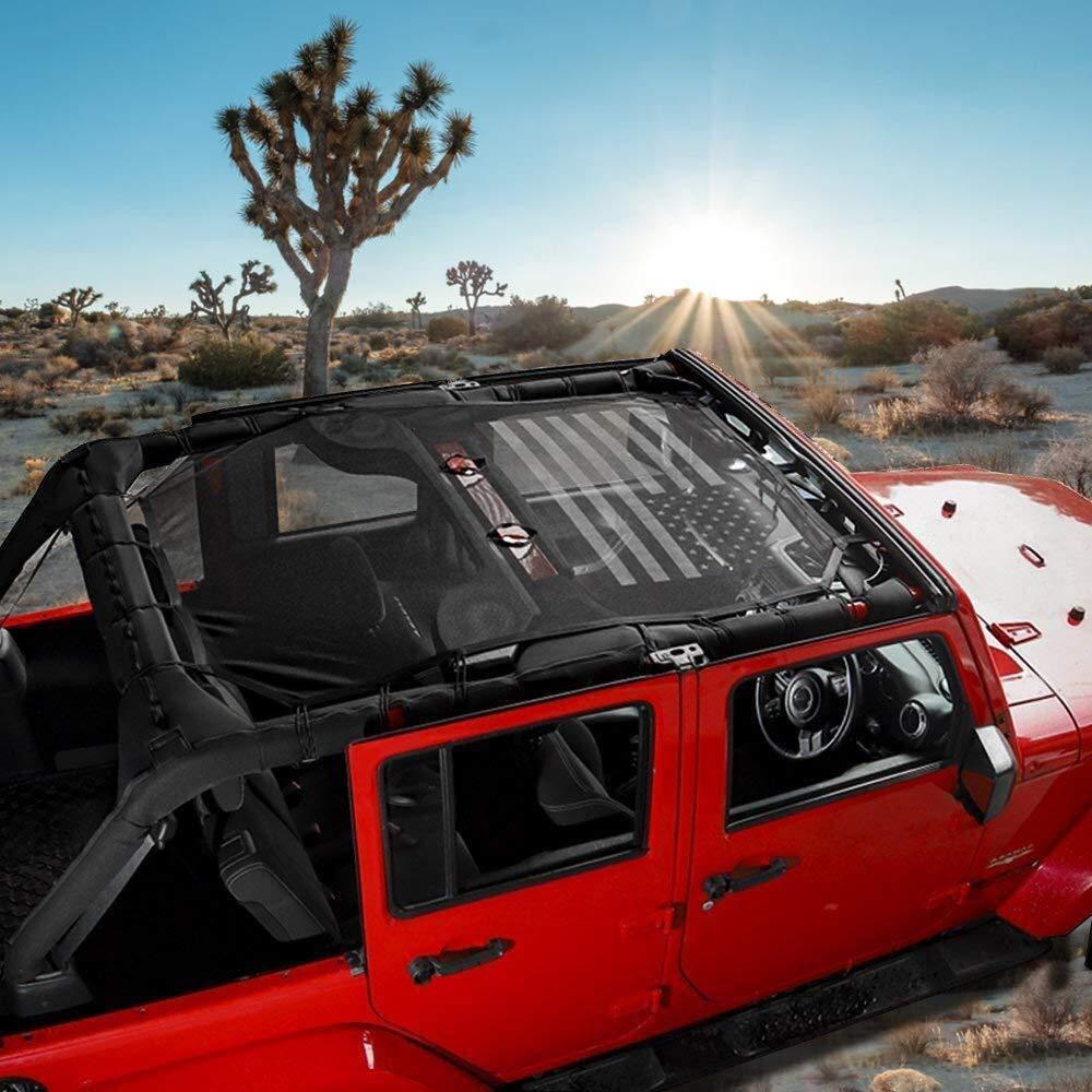Eclipse Mesh Sun Shade Soft Top Cover For 2007-2018 Jeep Wrangler JK JKU 4-Door